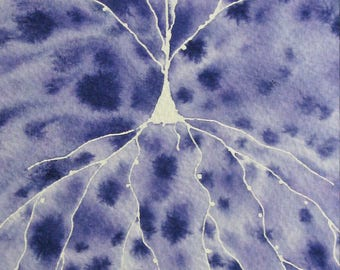 Purple Batik Pyramidal Neuron - original watercolor of brain cell