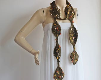 Leaves  Necklace Scarf- Lariat Scarf-Olive Green Scarf with flowers