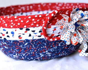 Cookout Plate Basket, Handmade Red White and Blue Party Bowl, Chip Bowl, Picnic BBQ Basket, Gift Basket, Patriotic Decoration