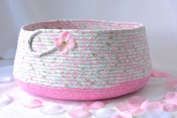 Cute Cat Bed, Hand Coiled Pet Bed, Pink Fabric Basket, Modern Cat Bed Furniture, Dog Bed, Pet Fabric Bowl, Toy Storage Organizer