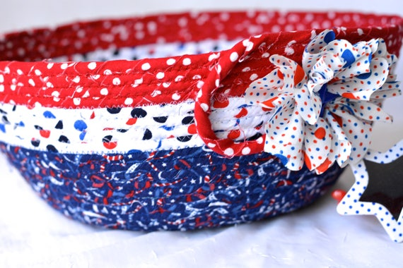 Summer Picnic Basket, Handmade Red White and Blue Party Bowl, Chip Bowl, Picnic Fabric Basket, Gift Basket, Patriotic Decoration