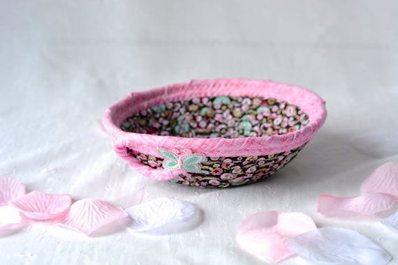 Cute Dot Basket, Handmade Pink Bowl, Pink Candy Dish, Makeup Organizer, Cute Desk Accessory Basket