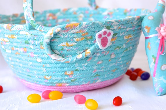 Blue Easter Basket and 1 Cute Easter Bunny, Handmade Easter Bucket, Blue Wedding Basket, Baby Girl Easter Bucket, Flower Girl Basket