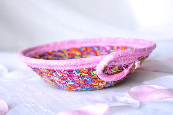 Rainbow Ring Bowl, Fun Basket, Cute Handmade Bowl, Gift Basket, Artisan Quilted Candy Dish Bowl, Change Basket, Easter Basket