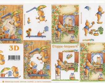 12 - 1 image cutting small brown rabbit Easter chicks