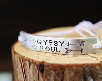 Bracelet GYPSY SOUL Inspirational ONE Custom Hand Stamped Jewelry Name Tie On Hemp Cord Personalized Friendship Positive Affirmation Travel