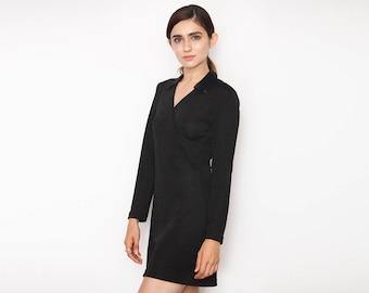 90's Black Mini Wrap Look Dress