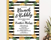 Pineapple Brunch and Bubbly Bridal Shower Invitation, Party Like A Pineapple Aloha Luau Tropical Bridal Shower Printable Invitation