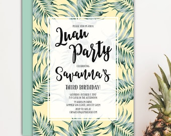 Tropical Birthday Party Invitation, Tropical Palm Leaves PInk and Green Luau Girl Birthday Party Invitation. v.1