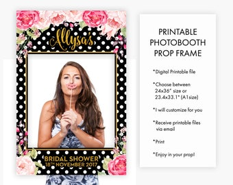 Bridal Shower Birthday Sweet Sixteen Wedding Photo Booth Prop Frame Pink Florals Polka Dot Black and White Gold Decoration Photo Prop