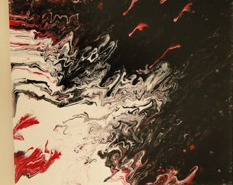 Acrylic Abstract Painting Study in Red White Black