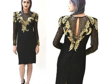 SALE Vintage Black Beaded Dress Size Medium Black and Gold Metallic Sequin Dress// Vintage Black Flapper Inspired Dress by Laurence Kazar