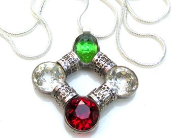 French Sterling Silver and Faceted Paste Rhinestone Pendant ART DECO 1920s on long modern silver plated snake chain