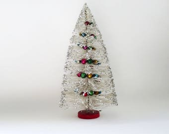 "Vintage Christmas Tree, White Christmas Bottle Brush Tree, Brush Tree Mercury Glass Garland, 13"" Bottlebrush Tree, Putz Village, Centerpiece"