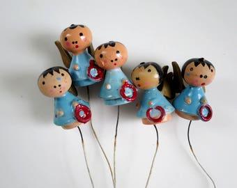 5 Vintage 3/4 inch Painted Angels Picks, Hand Painted Mini Wood Angels, Vintage Holidays, Christmas Putz House Supplies, Miniature Angels