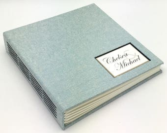 Pale Blue Textured Photo Album - Made to Order - multiple options available