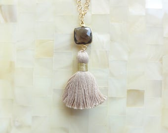 Faceted Smoky Quartz Vermeil Bezel Square Connector and Tan Cotton Tassel on Gold Chain Necklace (N1809)