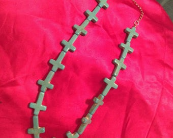 Turquoise All crosses necklace