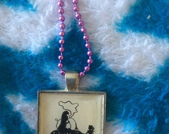 """Alice in Wonderland who are you? necklace caterpillar 1"""" B/W drawing Lucite square"""
