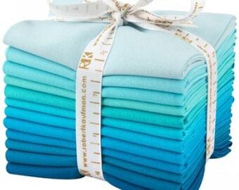 Kona Cotton Solid Quilting Fabric, KONA POOL PARTY Fat Quarters, Blue Cotton Fabric,  Fat Quarter Bundle, Robert Kaufman, By the Sea