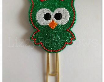 Planner clip, bookmark, planner feltie clip, felt bookmark, Christmas feltie clip,  owl clip, green glitter owl, Christmas in July