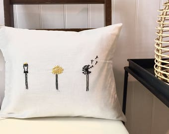 Dandelion Stages Lumbar Pillow Cover. Black and White Decor. Spring Decorative Pillows. Modern Floral. Hand Embroidered. Dandelion Wishes.