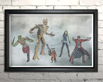 """Guardians of the Galaxy word art - 11x17"""" Framed"""