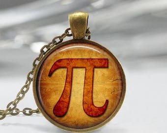 ON SALE Pi Necklace Mathematics Math  Jewelry Mathletes Greek Letter Art Pendant in Bronze or Silver with Link Chain Included