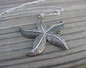 "RESERVED for Janette SALE- Starfish Necklace- LARGE Pendant with 30"" stainless steel chain"