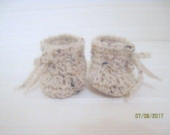 Crochet Baby Booties, Newborn Booties, Baby Boots, Crochet Baby Boots, Cream Fleck, Baby Shower Gift, New Baby Gift, Girl, Boy, New Mom Gift