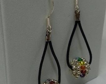 Beaded Ball Earrings, Rainbow Pride Earrings, Leather and Seed Bead Earrings, Drop Earrings