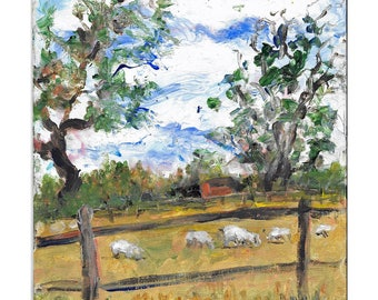 Original acrylic landscape painting 10x8 meadow,sheep, trees, clouds