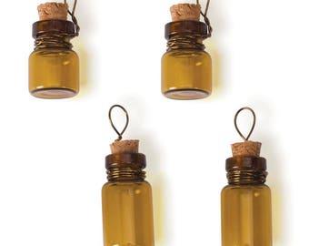 Glass Vials Brown Glass Vials Corked Vials Brown Bottles Glass Vial Charms Vial Pendants Bottle Charms Amber Glass Bottles 4 pack