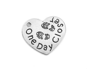 Army Charm Military Charm Silver Heart Charm Army Pendant Silver Army Pendant One Day Closer Word Charm Silver Charm
