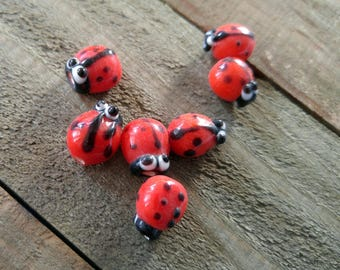 Ladybug Beads Red Ladybugs Glass Beads Handmade Lampwork Beads 7 pieces 12-13mm CLEARANCE
