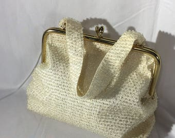 Lumured Corde-Bead Handbag, Beaded Vintage Purse
