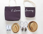 I LOVE Bag set for Mum / Dad and kid.  Tote / Diaper bag set with kid. 9 inside pockets. Waterproof lining available