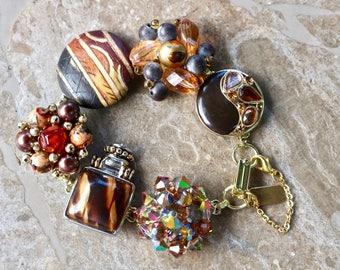 Vintage Earring Bracelet, Bridesmaid Gift, Charm, Gold Animal, Jungle Brown Black Amber Copper Boho, Repurposed Jennifer Jones OOAK - Safari