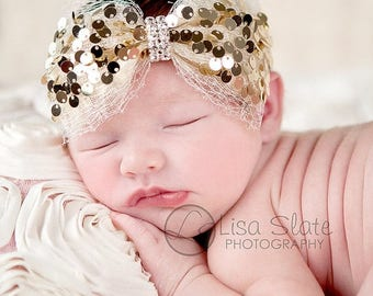 10% SALE Baby headband, newborn headband, adult headband, child headband and photography prop The single sprinkled-Holiday sequin headband