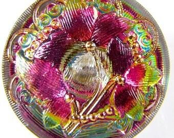 27mm, Flower  Multicolored Art Nouveau Hand Painted  Czech Glass Button, Qty 1