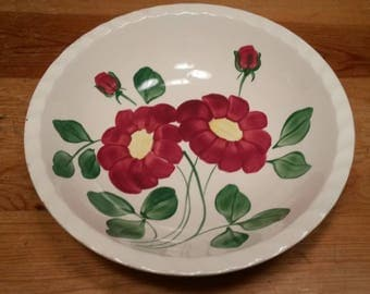 Vintage Blue Ridge Pottery Vegetable Bowl Mirror Image Pattern Red Flowers Dishes