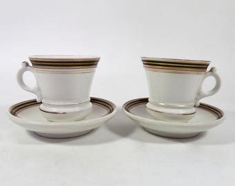 2 Antique French Bistro Cups  Authentic Heavy Cups with Saucers 'Brulot' in French