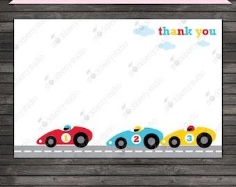 Race Car Thank You Card Printable - Race Car Party - Race Car Birthday Party - Birthday Thank you cards - Stationary