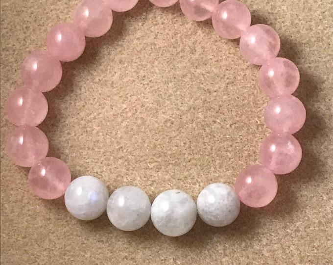 Rose Quartz Rainbow Moonstone Bracelet, Rose Quartz Bracelet, Rainbow Moonstone Bracelet, 10mm Bracelet, Stretch Bracelet, Beaded Bracelet