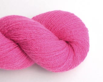 Reclaimed Cashmere Yarn, Lace Weight, Deep Pink, Lot 030717