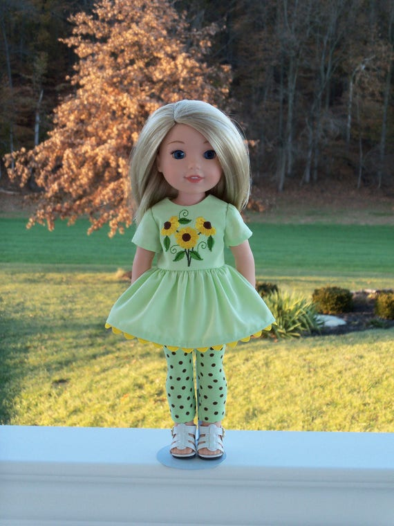 """14"""" Size/  Embroidered Tunic, Leggings and Sandals Fits  Wellie Wishers by American Girl"""