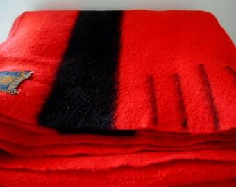 Vintage wool red with black stripe Blanket