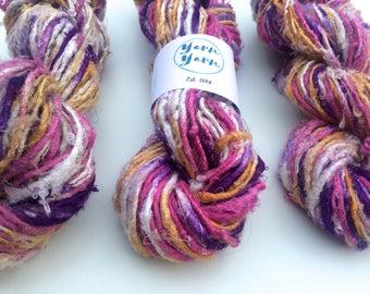 Banana yarn. 50g, Art yarn. Knitting yarn. Vegan friendly yarn. Crochet yarn, fiber art, Ethical handspun yarns.