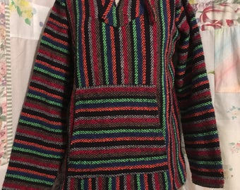 MEDIUM, Hoodie, Heavy Woven Colorful Hippie Southwestern Mexican Ethnic Pullover Jacket