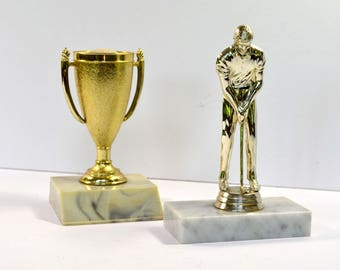 Vintage Golf Trophies (Set of 2) 1980s